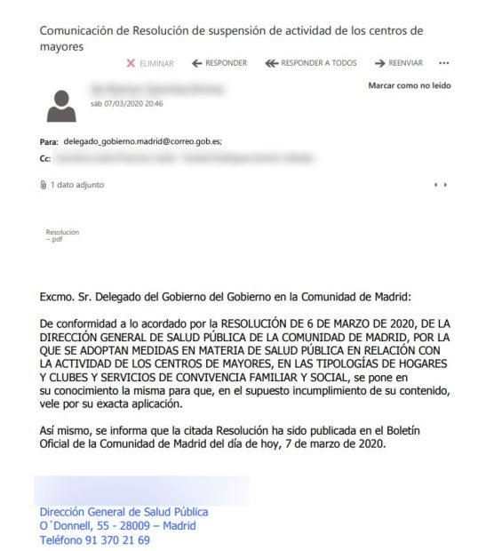 Madrid envió 2 mails a Franco la noche antes del 8-M alertando del «riesgo extraordinario para la salud»
