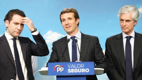 Imagen de archivo de Teodoro García Egea, secretario general del PP, Pablo Casado, líder del PP, y Adolfo Suárez Illana, diputado del PP. (Foto: Europa Press)
