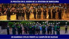 Policías frente al separatismo radical y guardias civiles protegiendo a Iglesias por orden de Interior.