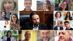 Pablo Iglesias con los candidatos alternativos.