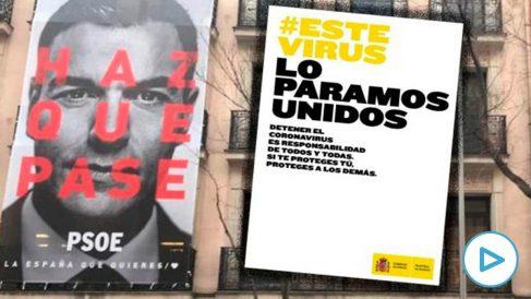 Campaña electoral del PSOE (izquierda) y del Ministerio de Sanidad (derecha)