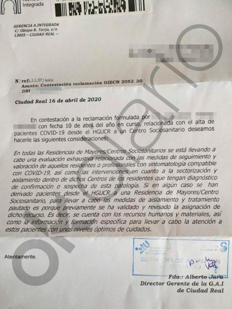 Castilla-La Mancha derivó infectados de coronavirus de los hospitales a residencias con internos sanos