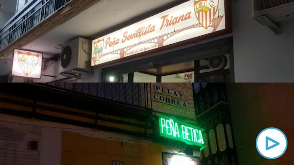 Peñas del Sevilla y del Betis en Triana (Sevilla).