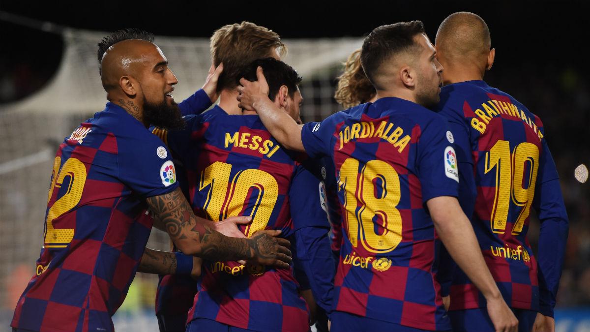 El Barça, celebrando un gol ante la Real Sociedad. (Getty)