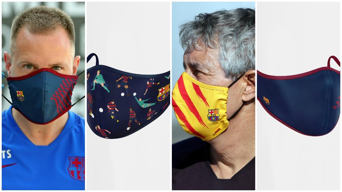 Las mascarillas que tiene a la venta el Barça en su página web.