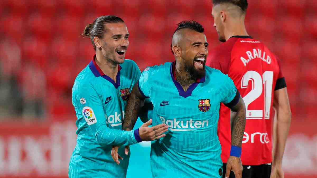 Arturo Vidal celebra su gol frente al Real Mallorca. (EFE)
