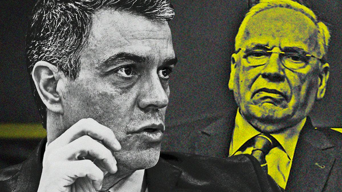 El presidente Pedro Sánchez y el ex vicepresidente del Gobierno Alfonso Guerra.