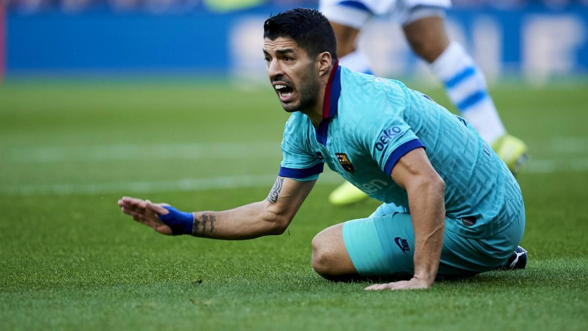 Luis Suárez, en un partido del Barcelona. (Getty)