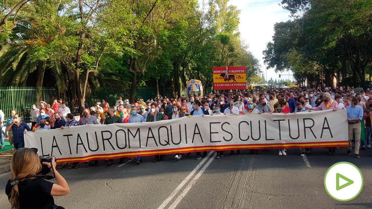 Manifestación taurina en Sevilla.