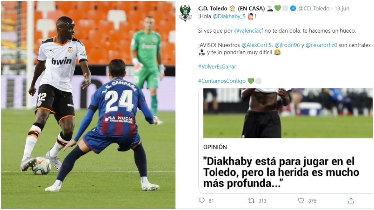 Diakhaby y el tuit del CD Toledo.