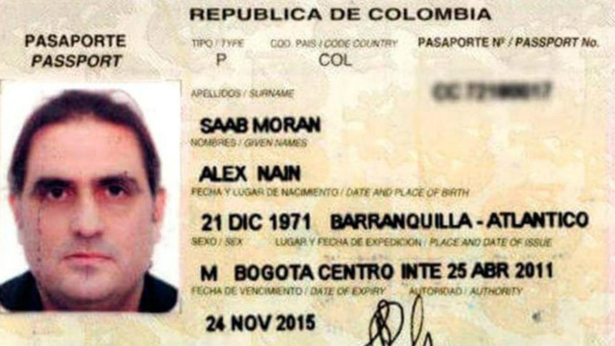 El pasaporte del empresario colombiano Alex Nain Saab Morán, al que EEUU considera testaferro de Nicolás Maduro.
