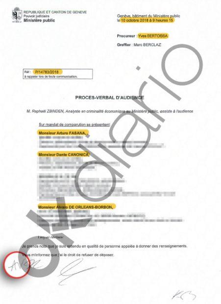 Declaración de Álvaro de Orleans en el marco de las diligencias secretas P14783/2018.
