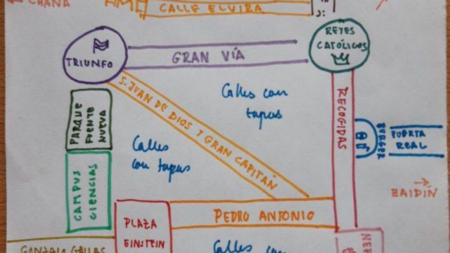 Twitter: Un mapa viral de Granada explica los lugares clave para los estudiantes