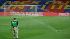 El Camp Nou, vacío de público. (AFP)