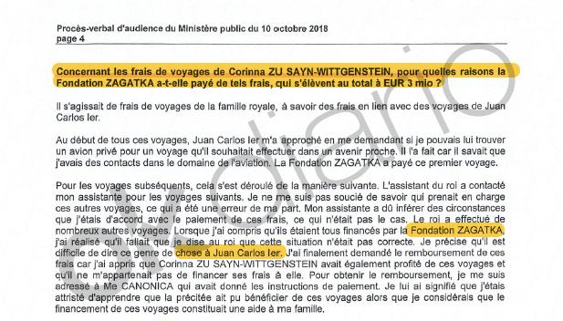 Declaración de Álvaro de Orleans ante el fiscal suizo Yves Bertossa.