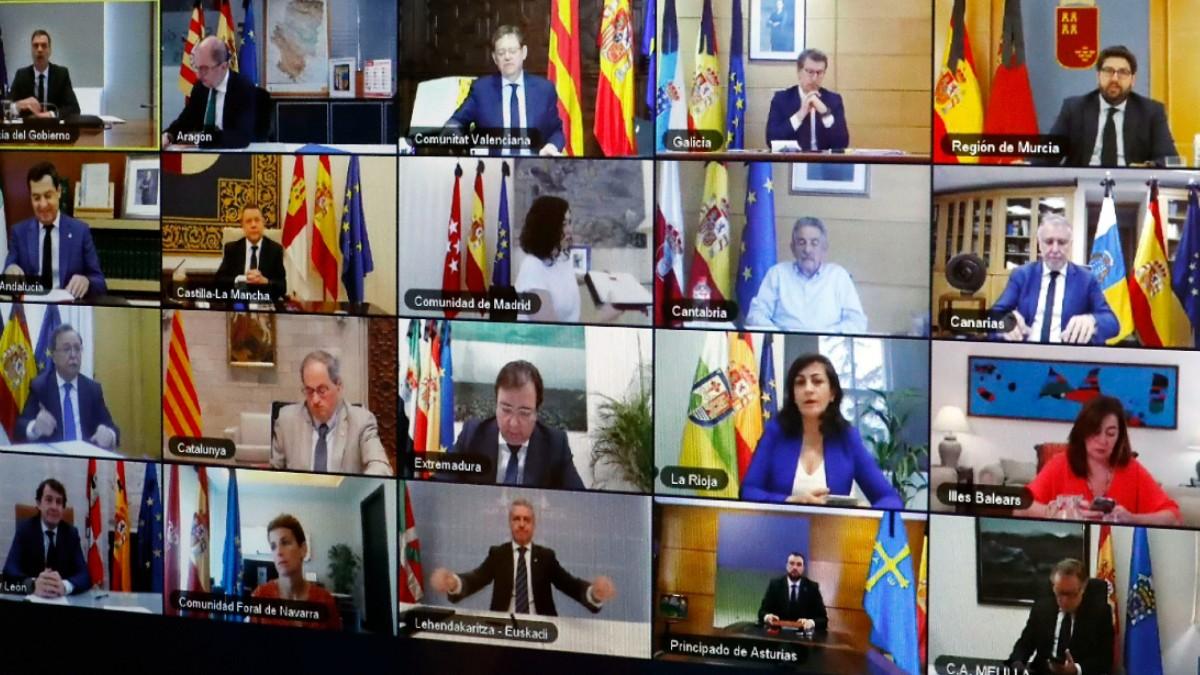 Los líderes autonómicos en la última videoconferencia de presidentes.