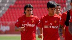 Luka Romero en un entrenamiento con el Real Mallorca. (@lukaromero_)