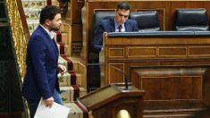 Gabriel Rufián, portavoz de ERC en el Congreso, y Pedro Sánchez, presidente del Gobierno, durante un pleno en la Cámara Baja. (Foto: Europa Press)
