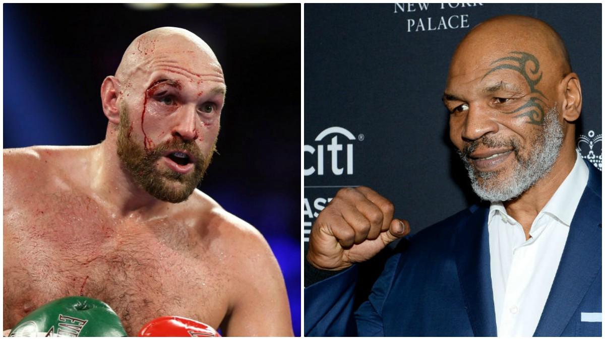 Tyson Fury, a la izquierda, y Mike Tyson, a la derecha.