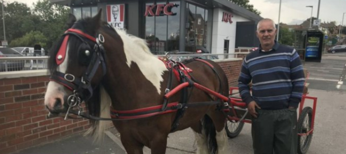 Twitter: Se niegan a servirle la comida por llegar al KFC con su carro y caballo