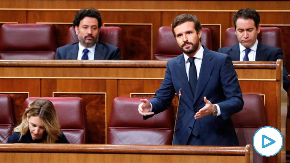 El líder del PP, Pablo Casado, durante su intervención en la última sesión de control al Ejecutivo bajo el estado de alarma que se celebra este miércoles en el Congreso. (Foto: Efe)