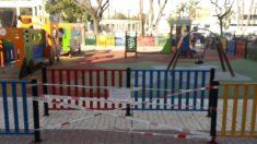 Parque precintado en Málaga
