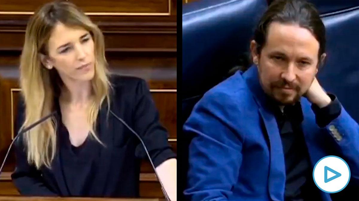 Cayetana Álvarez de Toledo llamando «hijo de un terrirorista» a Pablo Iglesias en el Congreso de los Diputados.