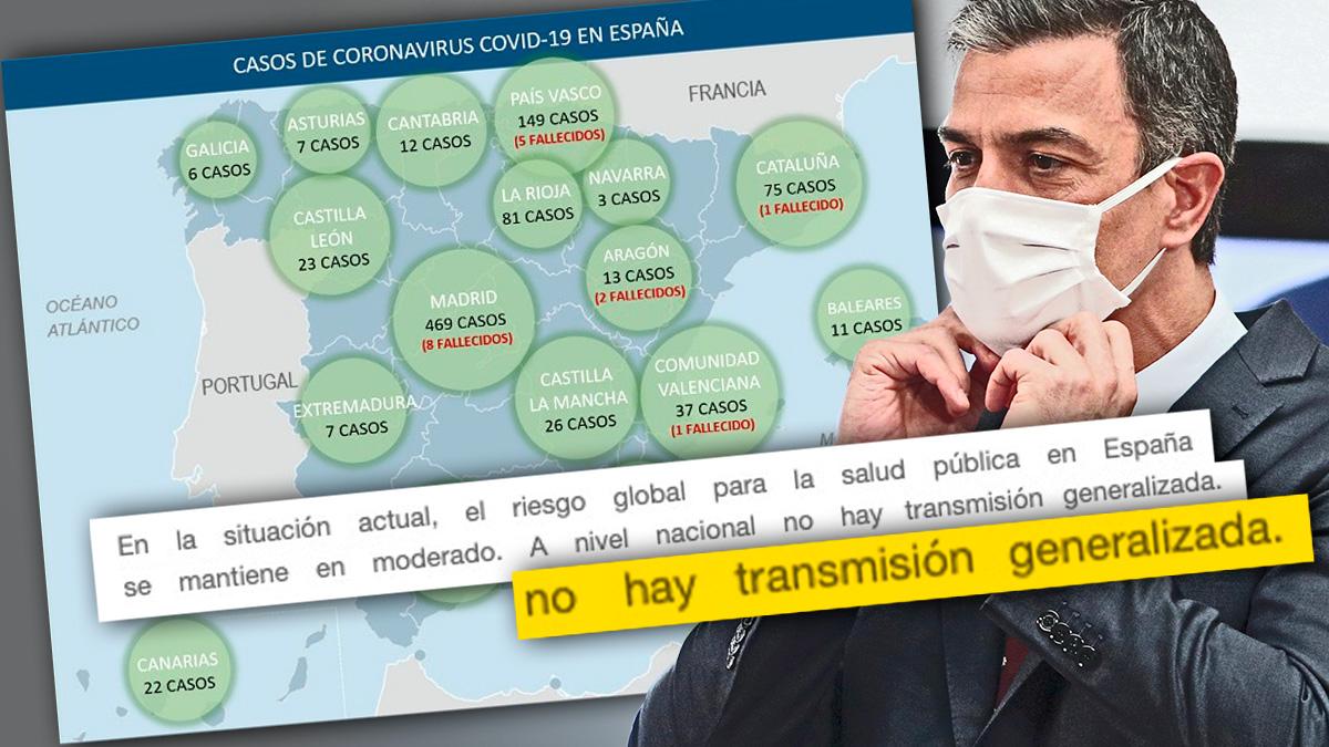 Informe oficial de Moncloa tras el 8-M afirmando que no había «transmisión generalizada».