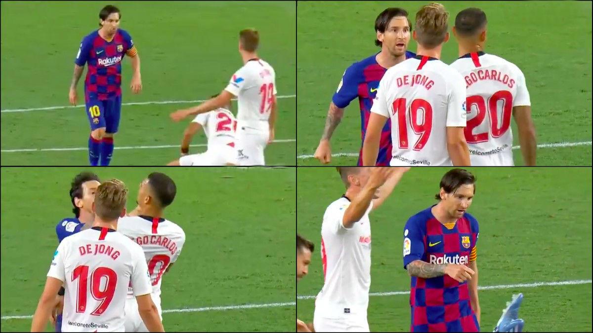 El incidente entre Leo Messi y Diego Carlos.