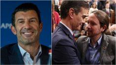 Luis Figo, Pedro Sánchez y Pablo Iglesias.