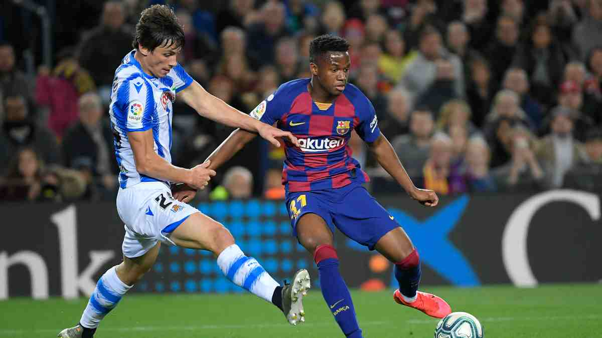 Ansu Fati con el Barcelona frente a la Real Sociedad. (AFP)