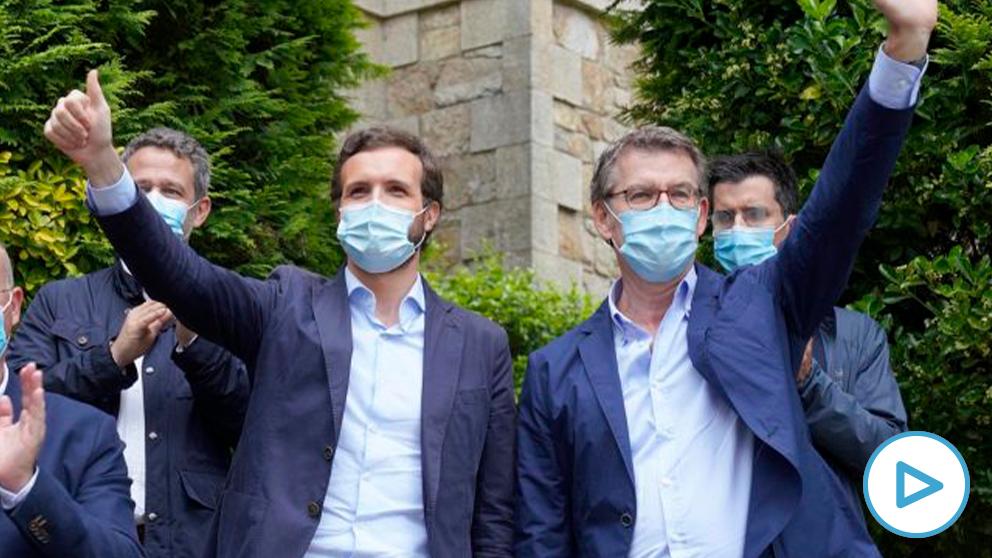 El líder del PP de Galicia, Alberto Núñez Feijóo (1i); y el presidente del PP, Pablo Casado (2i), durante la presentación de candidaturas del Partido Popular en Galicia para los comicios gallegos. Foto EP