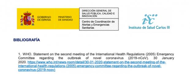 Éste es el informe de Sanidad que revela que en febrero conocía el aviso de «distancia social» de la OMS y lo ocultó
