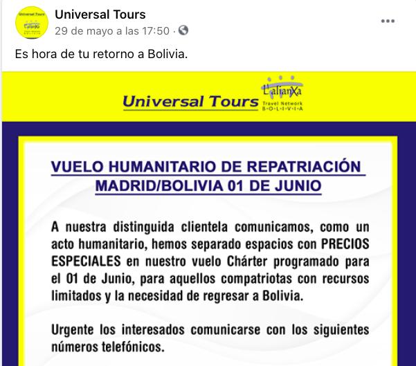 Tres de los infectados de Murcia llegaron de Bolivia en un vuelo «humanitario» tras decirles que «España no pide test»