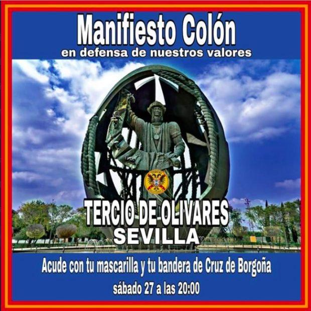 Convocatoria de la manifestación por Colón en Sevilla.