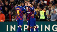 Messi, Griezmann y Luis Suárez celebran un tanto. (Getty)