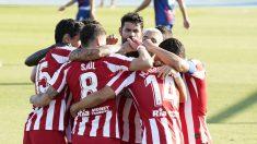 El Atlético de Madrid celebra un gol frente al Levante. (AFP)