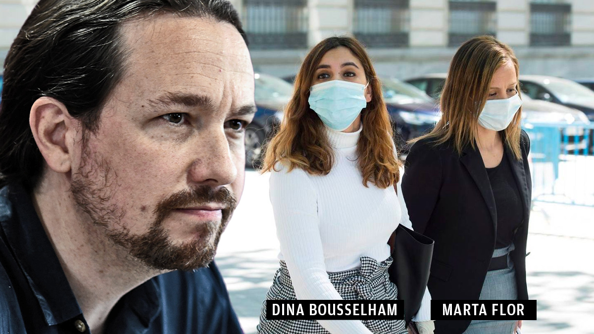 Pablo Iglesias, Dina Bousselham y la abogada de Podemos Marta Flor.