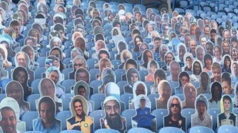 La cara de Bin Laden, en el estadio del Leeds United.