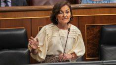 Carmen Calvo, en el Congreso. (Foto: PSOE)