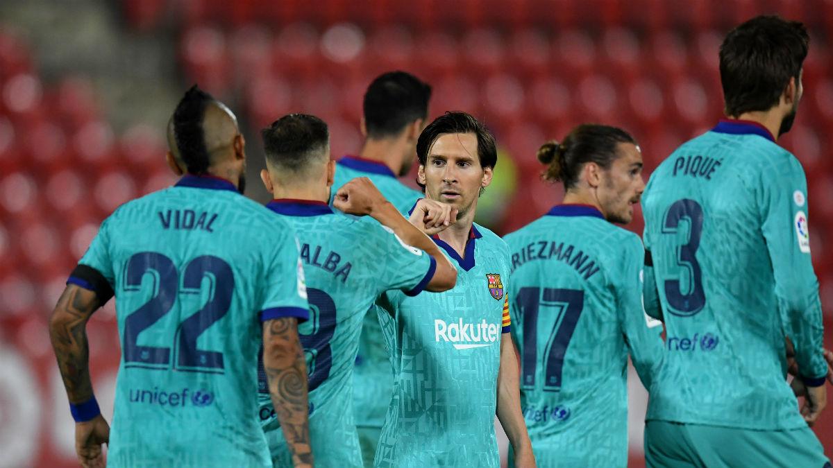 Los jugadores del Barça, en el partido ante el Mallorca. (Getty)