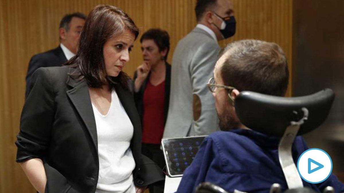 Adriana Lastra y Pablo Echenique. Foto: Europa Press