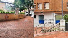 Fotos de los mensajes contra Vox en Sestao