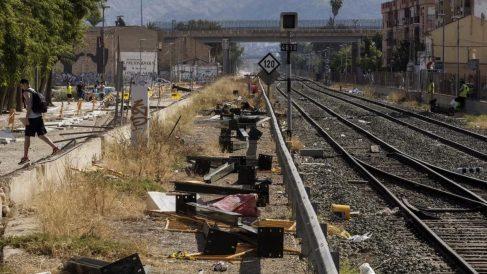Vandalismo en las vías del tren Murcia.
