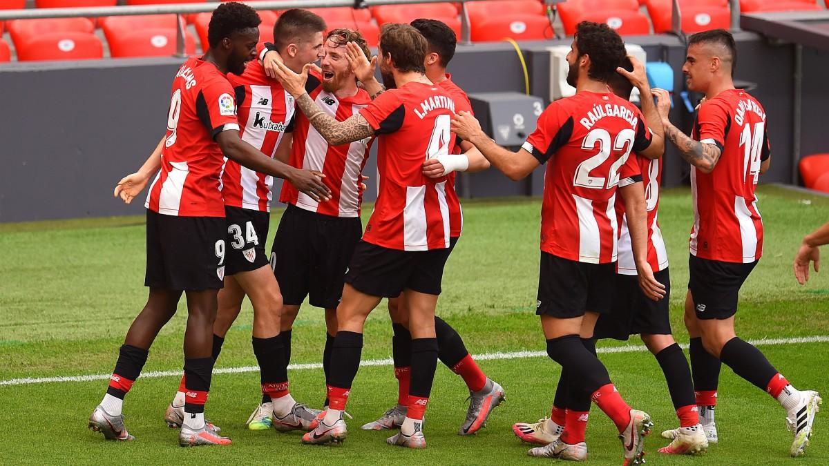 Los jugadores del Athletic celebran uno de los goles ante el Mallorca. (Getty)
