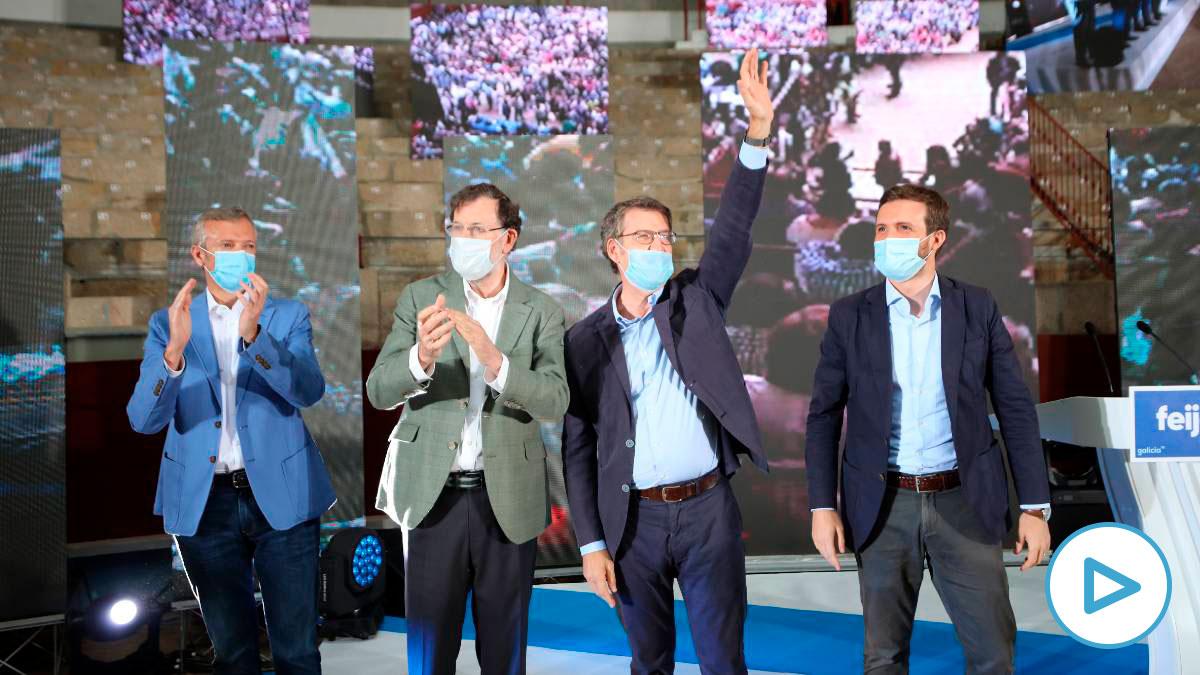 Pablo Casado junto a Mariano Rajoy y Alberto Núñez Feijóo. Foto: EP