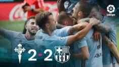 El Celta celebra su empate contra el Barcelona.