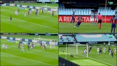 El Celta fracasó a la hora de defender la falta sacada por Messi.