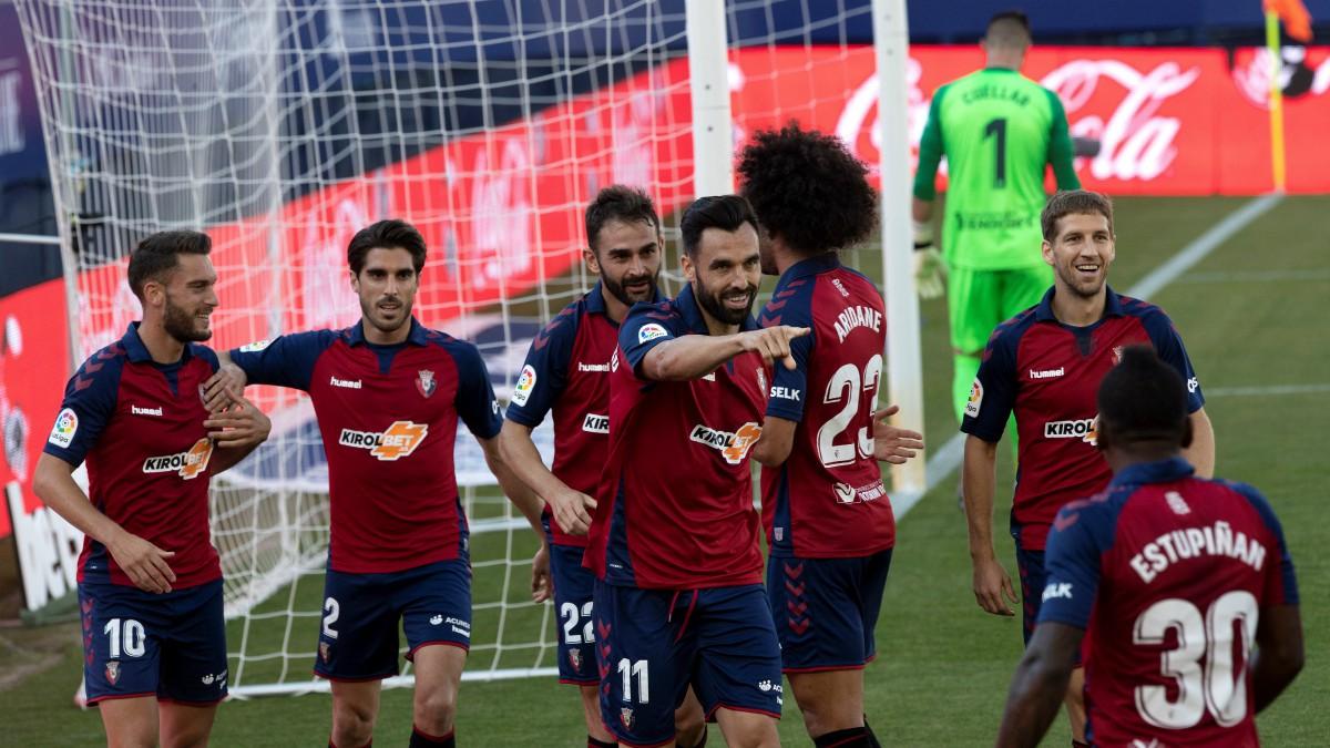Enric Gallego celebra su gol en el Osasuna-Leganés. (EFE)