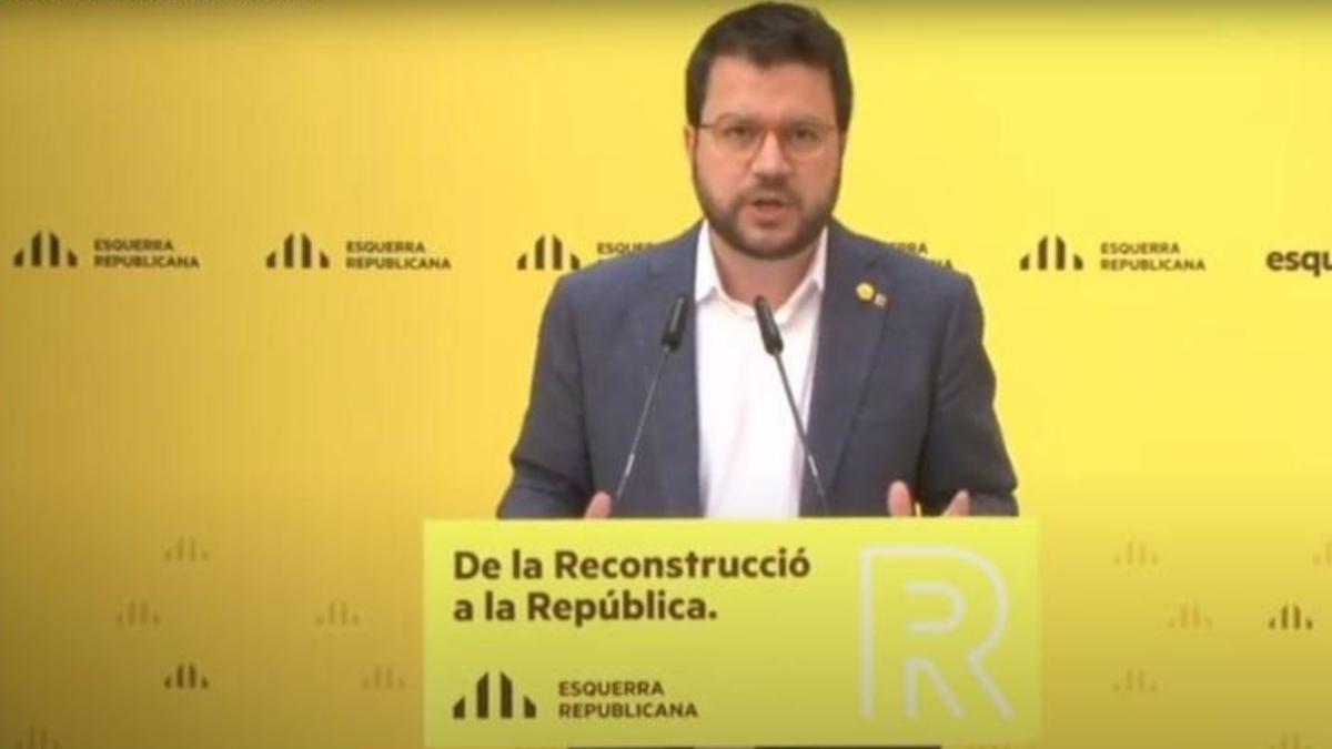 Pere Aragonès en un acto de ERC